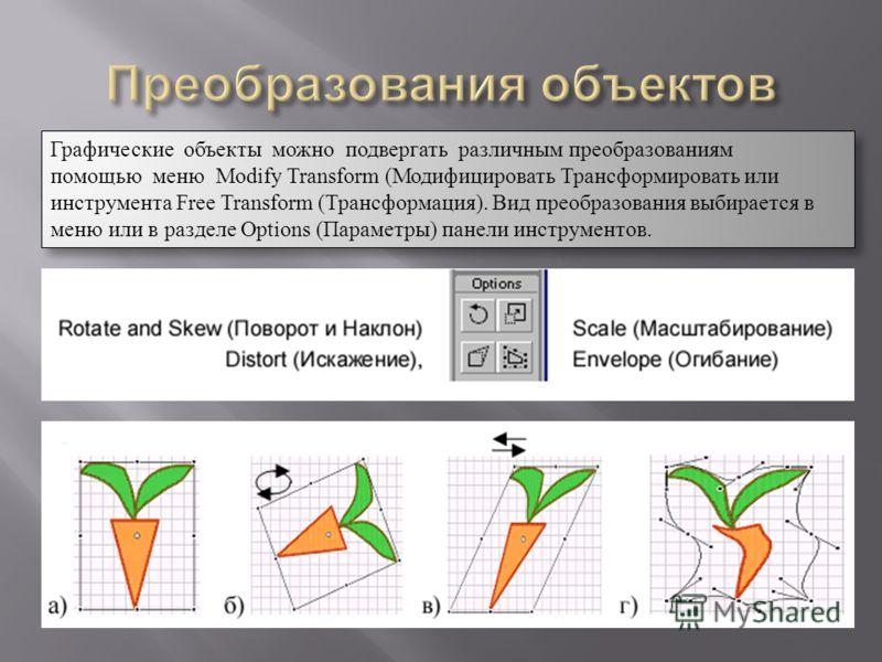 Графические объекты можно подвергать различным преобразованиям помощью меню Modify Transform (Модифицировать Трансформировать или инструмента Free Transform (Трансформация). Вид преобразования выбирается в меню или в разделе Options (Параметры) панел