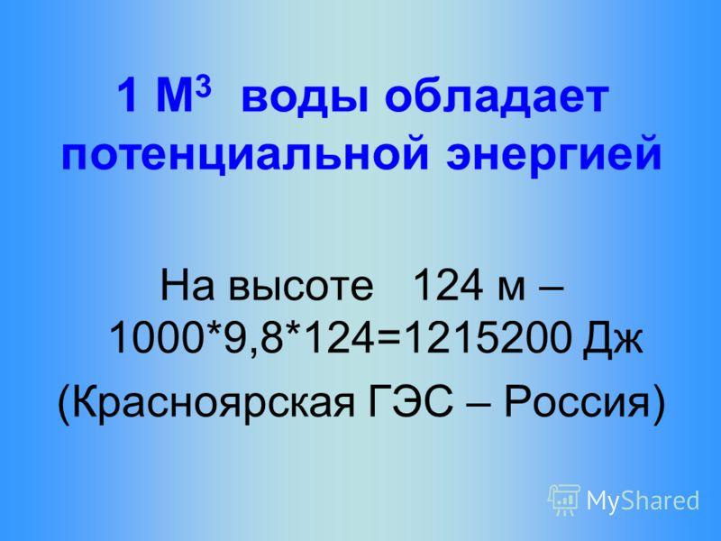 1 М 3 воды обладает потенциальной энергией На высоте 124 м – 1000*9,8*124=1215200 Дж (Красноярская ГЭС – Россия)