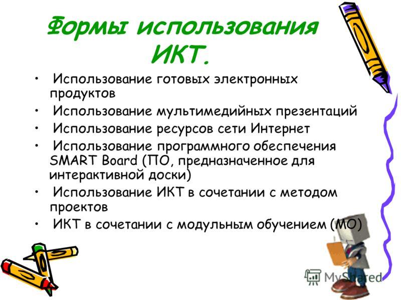 Формы использования ИКТ. Использование готовых электронных продуктов Использование мультимедийных презентаций Использование ресурсов сети Интернет Использование программного обеспечения SMART Board (ПО, предназначенное для интерактивной доски) Исполь