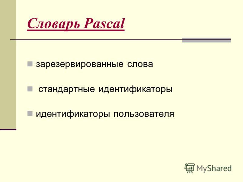 Словарь Pascal зарезервированные слова стандартные идентификаторы идентификаторы пользователя