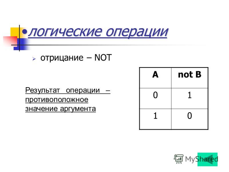 логические операциилогические операции отрицание – NOT Anot B 01 10 Результат операции – противоположное значение аргумента