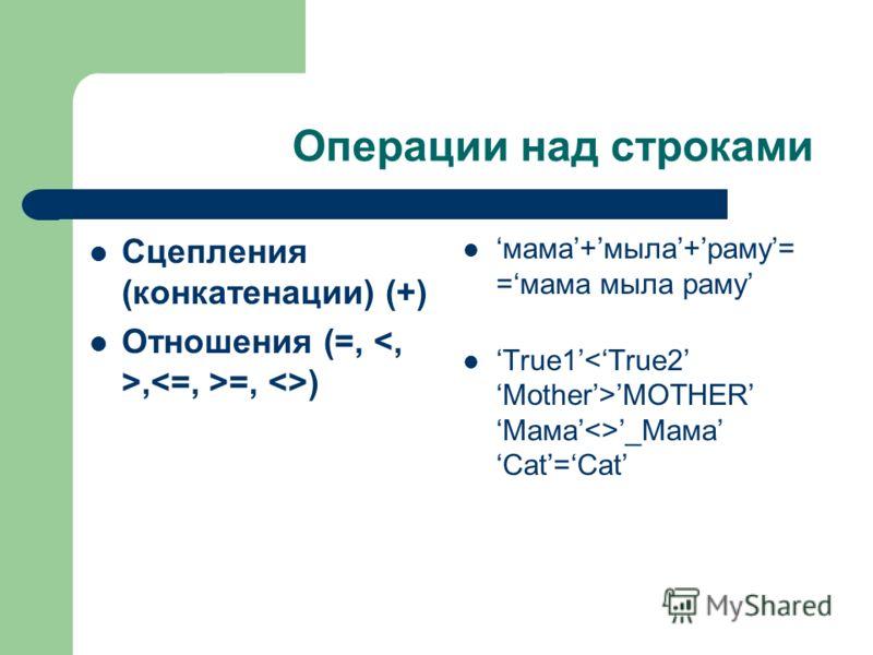 Операции над строками Сцепления (конкатенации) (+) Отношения (=,, =, ) мама+мыла+раму= =мама мыла раму True1 MOTHERМама_Мама Cat=Cat
