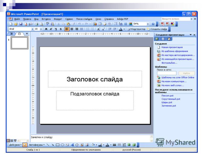 Создание презентации на основе пустой презентации Возможности 1. Создание оригинальной презентации. 2. Использование шаблонов на каждый слайд: Титульный слайд, Маркированный список, Текст в две колонки, Пустой слайд и т.д.