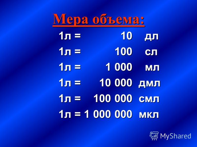 Мера объема: 1л = 10 дл 1л = 100 сл 1л = 1 000 мл 1л = 10 000 дмл 1л = 100 000 смл 1л = 1 000 000 мкл
