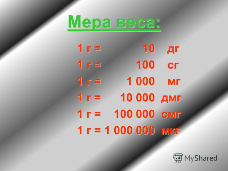 Мера веса: 1 г = 10 дг 1 г = 100 сг 1 г = 1 000 мг 1 г = 10 000 дмг 1 г = 100 000 смг 1 г = 1 000 000 мкг