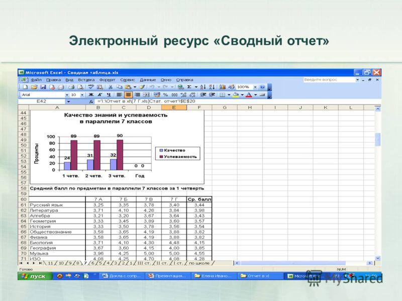 Электронный ресурс «Сводный отчет»