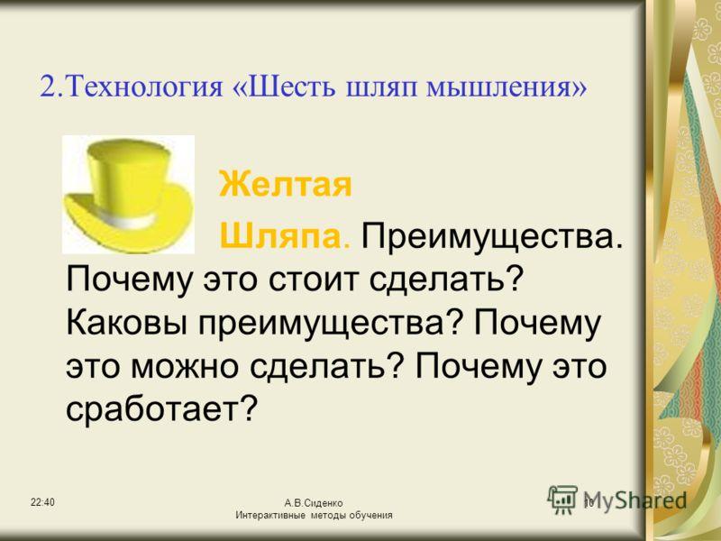 22:42 А.В.Сиденко Интерактивные методы обучения 10 2.Технология «Шесть шляп мышления» Желтая Шляпа. Преимущества. Почему это стоит сделать? Каковы преимущества? Почему это можно сделать? Почему это сработает?