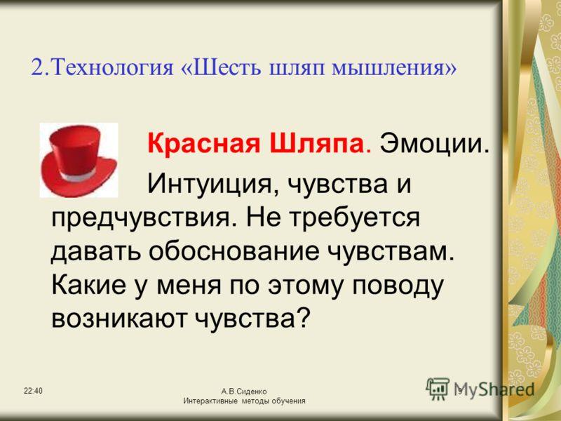 22:42 А.В.Сиденко Интерактивные методы обучения 9 2.Технология «Шесть шляп мышления» Красная Шляпа. Эмоции. Интуиция, чувства и предчувствия. Не требуется давать обоснование чувствам. Какие у меня по этому поводу возникают чувства?