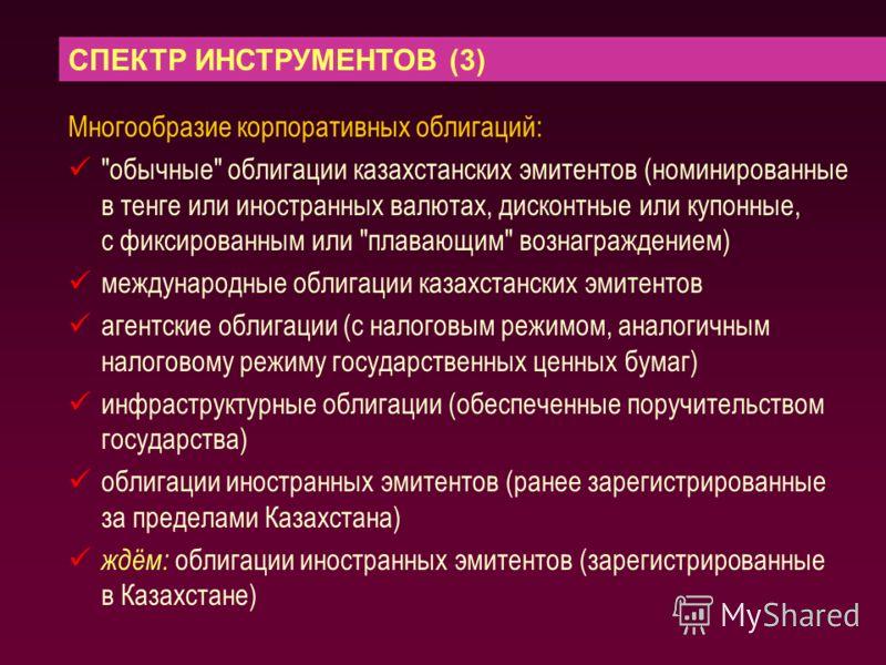 СПЕКТР ИНСТРУМЕНТОВ (3) Многообразие корпоративных облигаций: