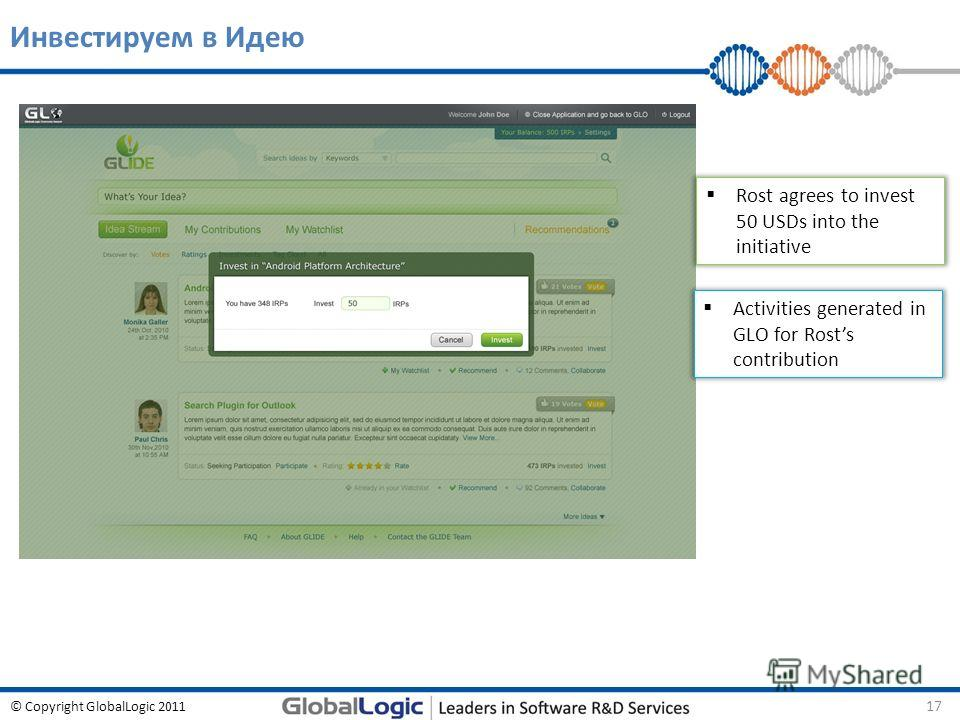 © Copyright GlobalLogic 2011 Инвестируем в Идею 17 Rost agrees to invest 50 USDs into the initiative Activities generated in GLO for Rosts contribution