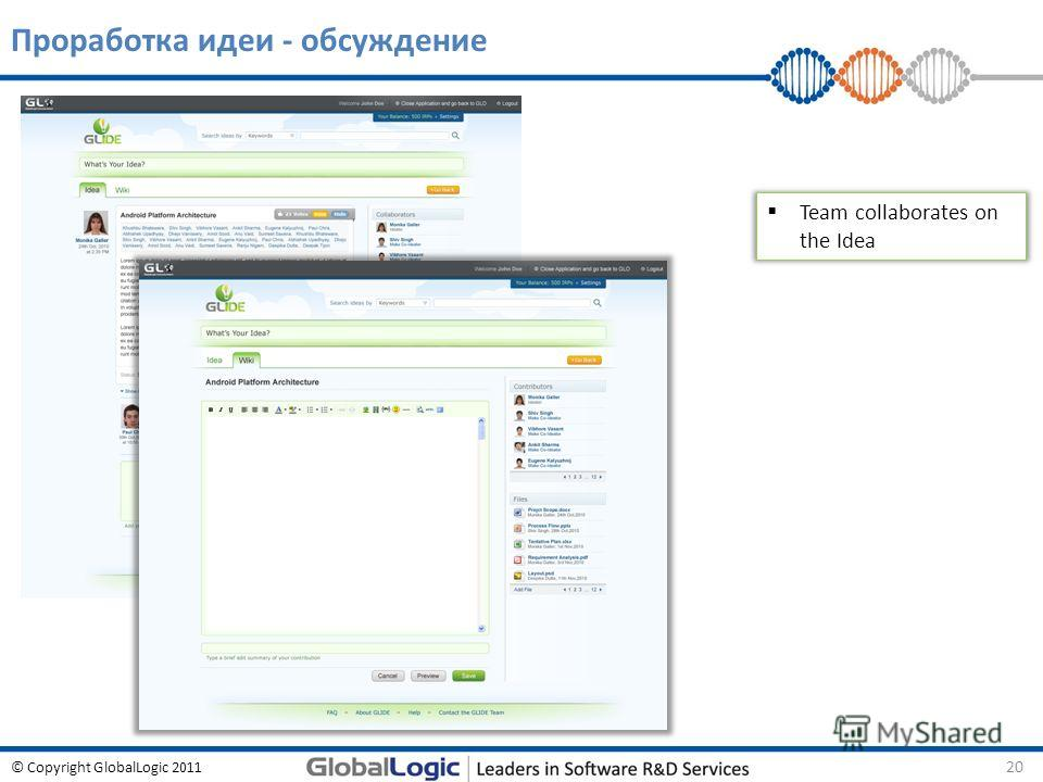© Copyright GlobalLogic 2011 Проработка идеи - обсуждение 20 Team collaborates on the Idea