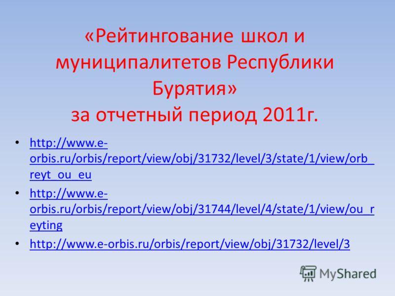 «Рейтингование школ и муниципалитетов Республики Бурятия» за отчетный период 2011г. http://www.e- orbis.ru/orbis/report/view/obj/31732/level/3/state/1/view/orb_ reyt_ou_eu http://www.e- orbis.ru/orbis/report/view/obj/31732/level/3/state/1/view/orb_ r