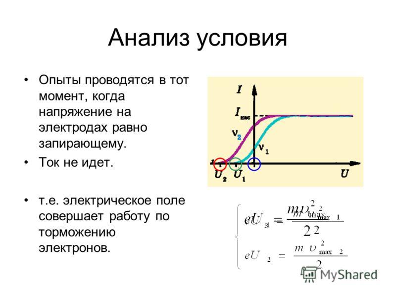Анализ условия Опыты проводятся в тот момент, когда напряжение на электродах равно запирающему. Ток не идет. т.е. электрическое поле совершает работу по торможению электронов.