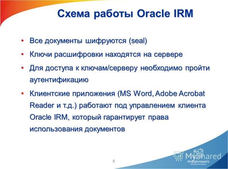 6 Схема работы Oracle IRM Все документы шифруются (seal)Все документы шифруются (seal) Ключи расшифровки находятся на сервереКлючи расшифровки находятся на сервере Для доступа к ключам/серверу необходимо пройти аутентификациюДля доступа к ключам/серв