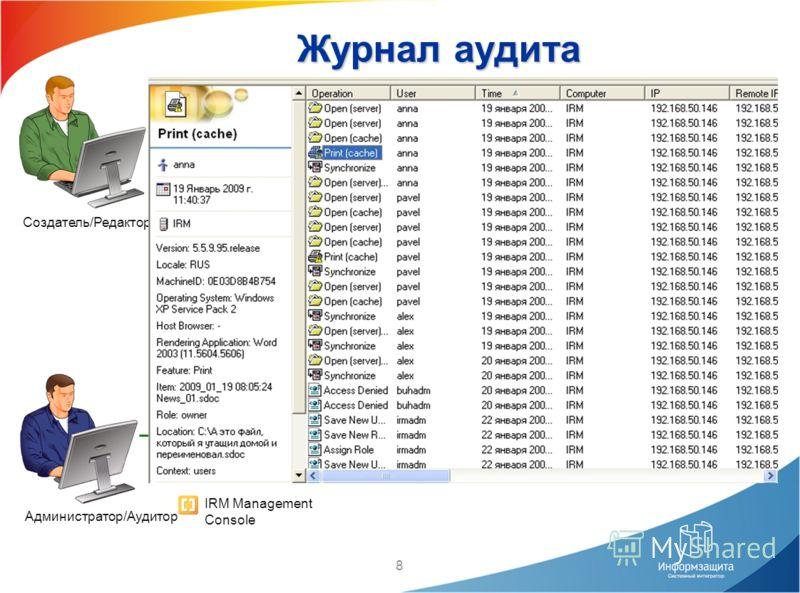 8 Пользователь Создатель/Редактор IRM Server Web Server SMTP Server Журнал аудита IRM Management Console [ ][ ] Unsealer IRM Desktop Администратор/Аудитор