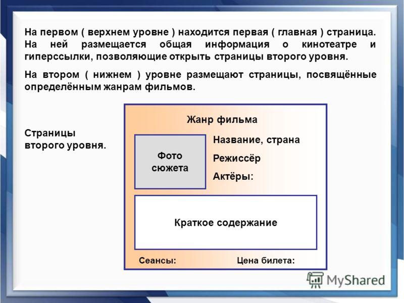 На первом ( верхнем уровне ) находится первая ( главная ) страница. На ней размещается общая информация о кинотеатре и гиперссылки, позволяющие открыть страницы второго уровня. На втором ( нижнем ) уровне размещают страницы, посвящённые определённым