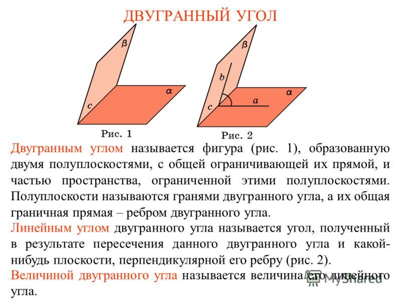 ДВУГРАННЫЙ УГОЛ Двугранным углом называется фигура (рис. 1), образованную двумя полуплоскостями, с общей ограничивающей их прямой, и частью пространства, ограниченной этими полуплоскостями. Полуплоскости называются гранями двугранного угла, а их обща