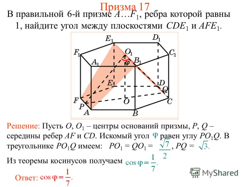 В правильной 6-й призме A…F 1, ребра которой равны 1, найдите угол между плоскостями CDE 1 и AFE 1. Ответ: Решение: Пусть O, O 1 – центры оснований призмы, P, Q – середины ребер AF и CD. Искомый угол равен углу PO 1 Q. В треугольнике PO 1 Q имеем: PO