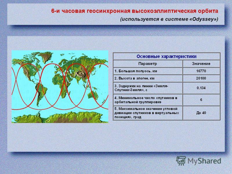 6-и часовая геосинхронная высокоэллиптическая орбита (используется в системе «Odyssey»)
