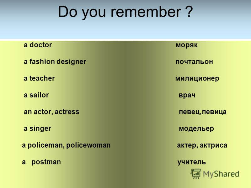 Do you remember ? a doctor моряк a fashion designer почтальон a teacher милиционер a sailor врач an actor, actress певец,певица a singer модельер a policeman, policewoman актер, актриса a postman учитель