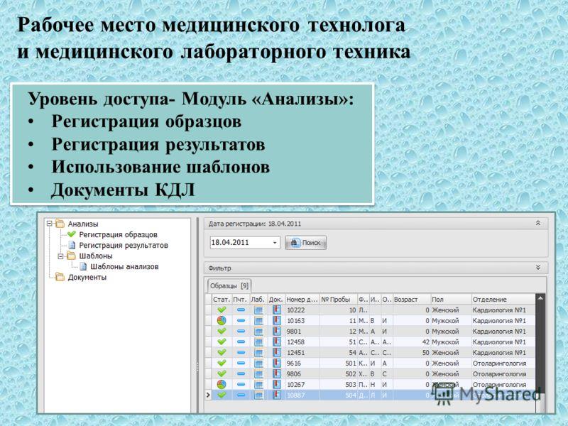 Уровень доступа- Модуль «Анализы»: Регистрация образцов Регистрация результатов Использование шаблонов Документы КДЛ Уровень доступа- Модуль «Анализы»: Регистрация образцов Регистрация результатов Использование шаблонов Документы КДЛ Рабочее место ме