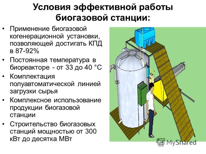 Условия эффективной работы биогазовой станции: Применение биогазовой когенерационной установки, позволяющей достигать КПД в 87-92% Постоянная температура в биореакторе - от 33 до 40 °С Комплектация полуавтоматической линией загрузки сырья Комплексное