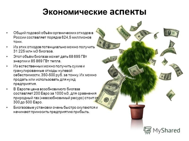 Экономические аспекты Общий годовой объём органических отходов в России составляет порядка 624,5 миллионов тонн. Из этих отходов потенциально можно получить 31 225 млн м3 биогаза. Этот объём биогаза может дать 68 695 ГВт энергии и 85 869 ГВт тепла. И
