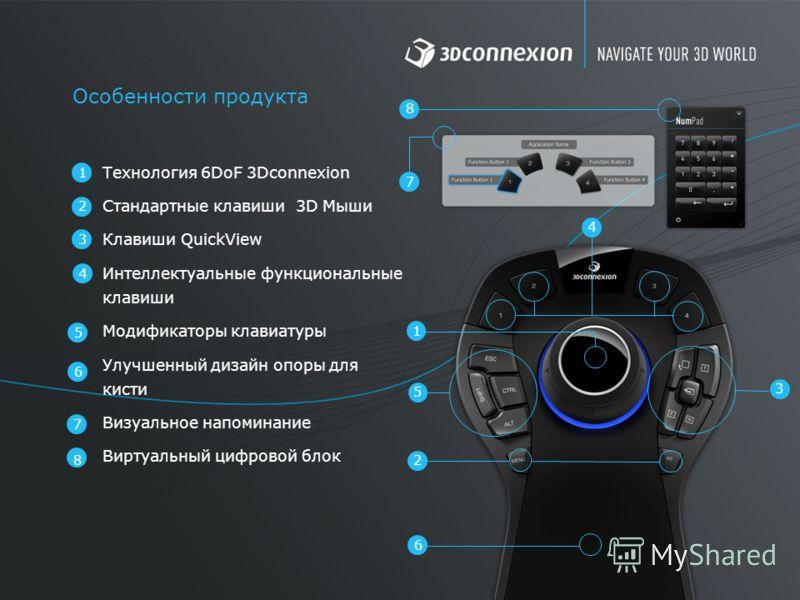 1 3 4 7 Особенности продукта 6 5 3 5 2 6 2 4 Технология 6DoF 3Dconnexion Стандартные клавиши 3D Мыши Клавиши QuickView Интеллектуальные функциональные клавиши Модификаторы клавиатуры Улучшенный дизайн опоры для кисти Визуальное напоминание Виртуальны