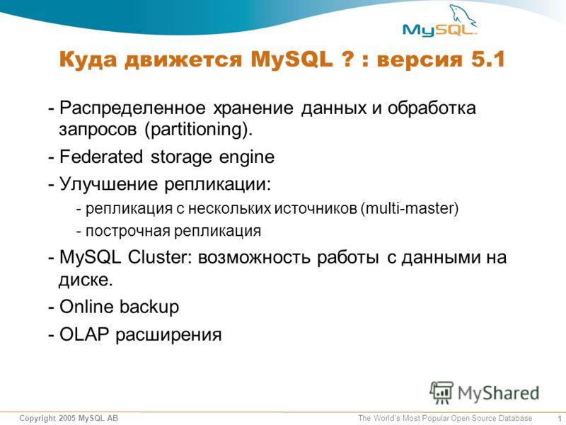 1 Copyright 2005 MySQL AB The Worlds Most Popular Open Source Database Куда движется MySQL ? : версия 5.1 - Распределенное хранение данных и обработка запросов (partitioning). - Federated storage engine - Улучшение репликации: - репликация с нескольк