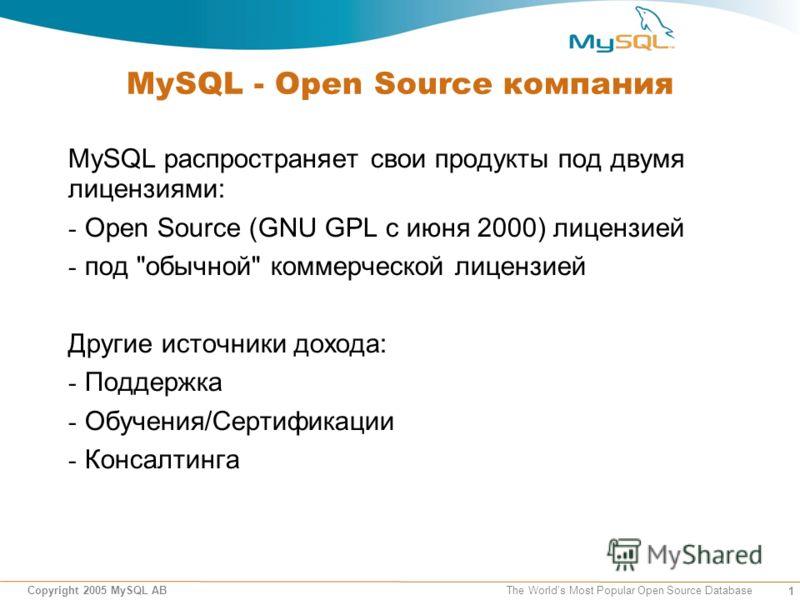 1 Copyright 2005 MySQL AB The Worlds Most Popular Open Source Database MySQL - Open Source компания MySQL распространяет свои продукты под двумя лицензиями: - Open Source (GNU GPL с июня 2000) лицензией - под