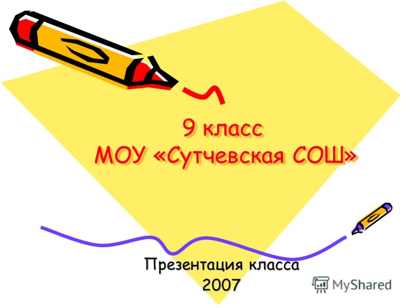 9 класс МОУ «Сутчевская СОШ» Презентация класса 2007