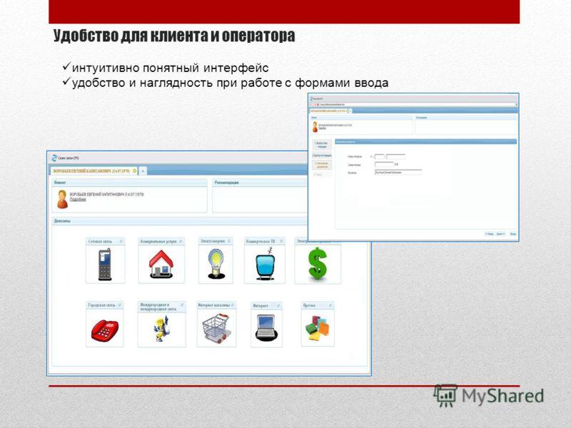Удобство для клиента и оператора интуитивно понятный интерфейс удобство и наглядность при работе с формами ввода