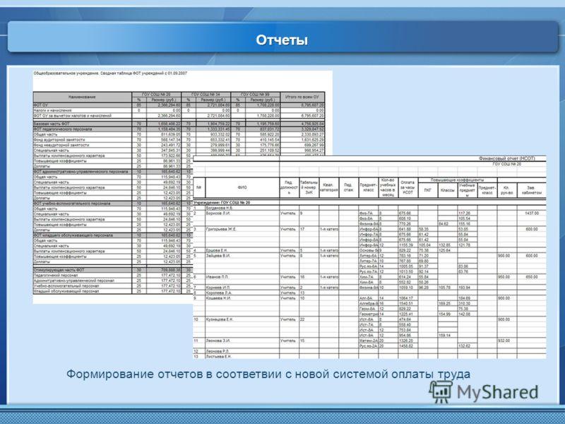 Отчеты Формирование отчетов в соответвии с новой системой оплаты труда