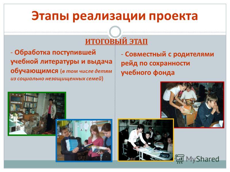 Этапы реализации проекта ИТОГОВЫЙ ЭТАП - Обработка поступившей учебной литературы и выдача обучающимся (в том числе детям из социально незащищенных семей) - Совместный с родителями рейд по сохранности учебного фонда