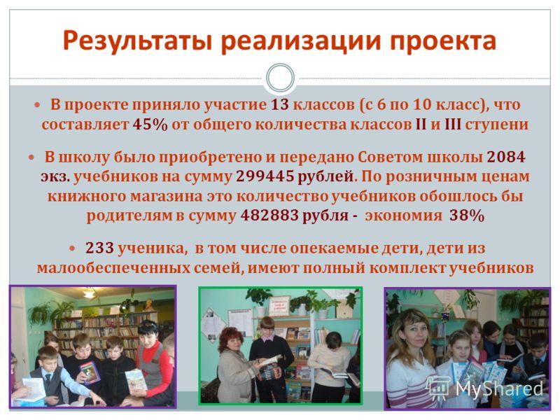 В проекте приняло участие 13 классов (с 6 по 10 класс), что составляет 45% от общего количества классов II и III ступени В школу было приобретено и передано Советом школы 2084 экз. учебников на сумму 299445 рублей. По розничным ценам книжного магазин