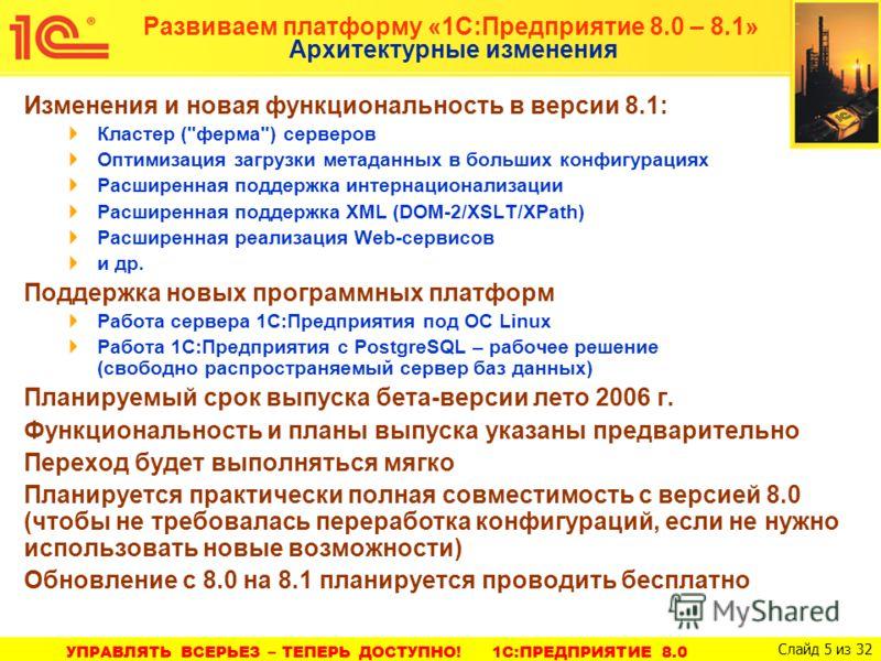 1C:ПРЕДПРИЯТИЕ 8.0. УПРАВЛЕНИЕ ПРОИЗВОДСТВЕННЫМ ПРЕДПРИЯТИЕМ Слайд 5 из 46 УПРАВЛЯТЬ ВСЕРЬЕЗ – ТЕПЕРЬ ДОСТУПНО! 1С:ПРЕДПРИЯТИЕ 8.0 Слайд 5 из 32 Развиваем платформу «1С:Предприятие 8.0 – 8.1» Архитектурные изменения Изменения и новая функциональность