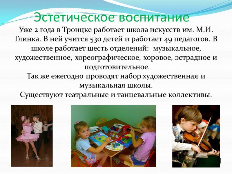 Уже 2 года в Троицке работает школа искусств им. М.И. Глинка. В ней учится 530 детей и работает 49 педагогов. В школе работает шесть отделений: музыкальное, художественное, хореографическое, хоровое, эстрадное и подготовительное. Так же ежегодно пров