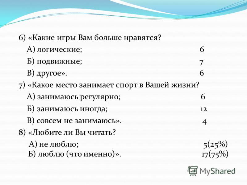 6) «Какие игры Вам больше нравятся? А) логические; 6 Б) подвижные; 7 В) другое». 6 7) «Какое место занимает спорт в Вашей жизни? А) занимаюсь регулярно; 6 Б) занимаюсь иногда; 12 В) совсем не занимаюсь». 4 8) «Любите ли Вы читать? А) не люблю; 5(25%)