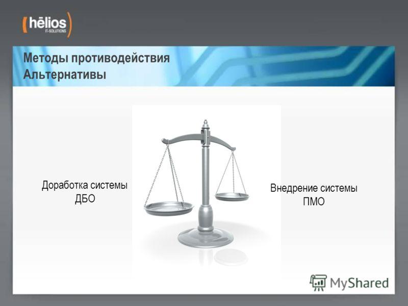 Методы противодействия Альтернативы Доработка системы ДБО Внедрение системы ПМО