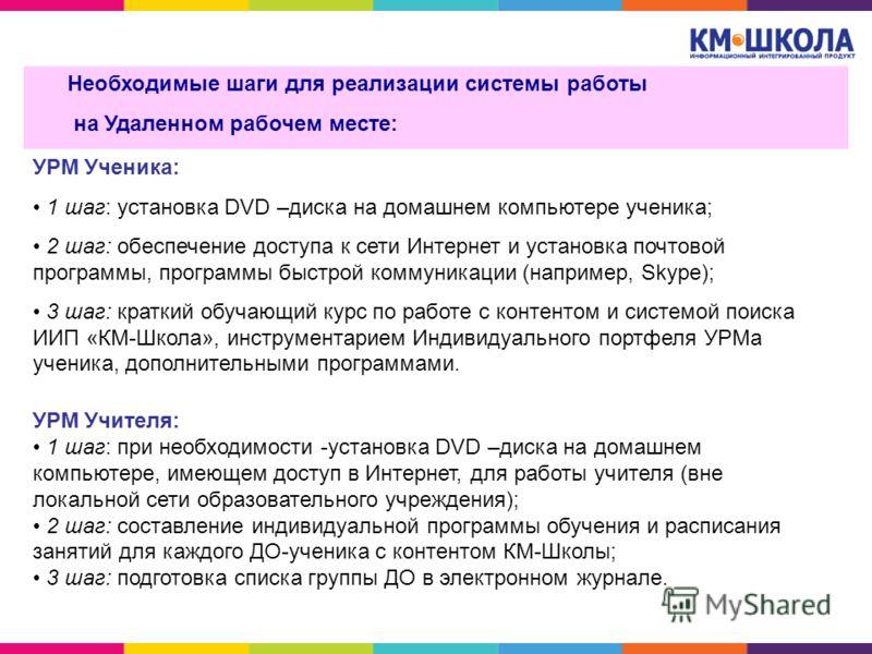 УРМ Ученика: 1 шаг: установка DVD –диска на домашнем компьютере ученика; 2 шаг: обеспечение доступа к сети Интернет и установка почтовой программы, программы быстрой коммуникации (например, Skype); 3 шаг: краткий обучающий курс по работе с контентом