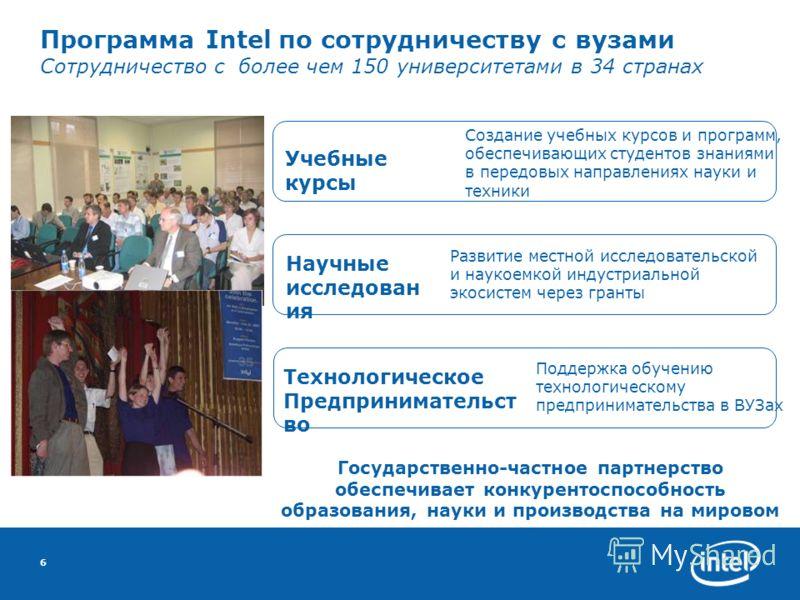 6 Программа Intel по сотрудничеству с вузами Сотрудничество с более чем 150 университетами в 34 странах Технологическое Предпринимательст во Развитие местной исследовательской и наукоемкой индустриальной экосистем через гранты Научные исследован ия С