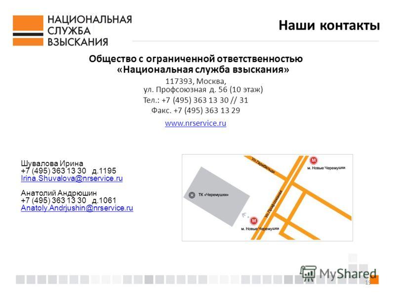 19 Наши контакты Общество с ограниченной ответственностью «Национальная служба взыскания» 117393, Москва, ул. Профсоюзная д. 56 (10 этаж) Тел.: +7 (495) 363 13 30 // 31 Факс. +7 (495) 363 13 29 www.nrservice.ru Шувалова Ирина +7 (495) 363 13 30 д.119