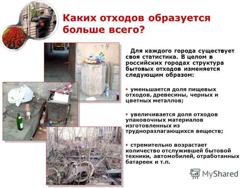 Каких отходов образуется больше всего? Для каждого города существует своя статистика. В целом в российских городах структура бытовых отходов изменяется следующим образом: уменьшается доля пищевых отходов, древесины, черных и цветных металлов; увеличи
