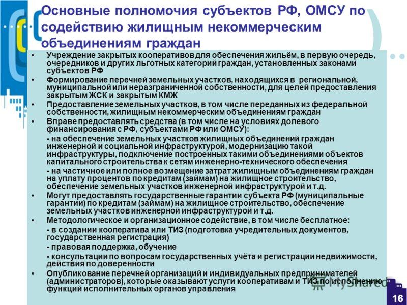 ) 16 Основные полномочия субъектов РФ, ОМСУ по содействию жилищным некоммерческим объединениям граждан Учреждение закрытых кооперативов для обеспечения жильём, в первую очередь, очередников и других льготных категорий граждан, установленных законами