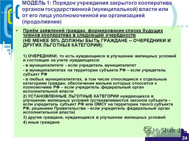 ) 24 МОДЕЛЬ 1: Порядок учреждения закрытого кооператива органом государственной (муниципальной) власти или от его лица уполномоченной им организацией (продолжение) Приём заявлений граждан, формирование списка будущих членов кооператива в следующей оч