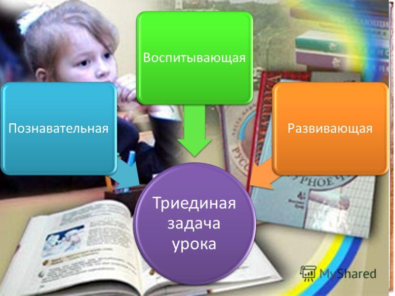 Триединая задача урока ПознавательнаяВоспитывающаяРазвивающая