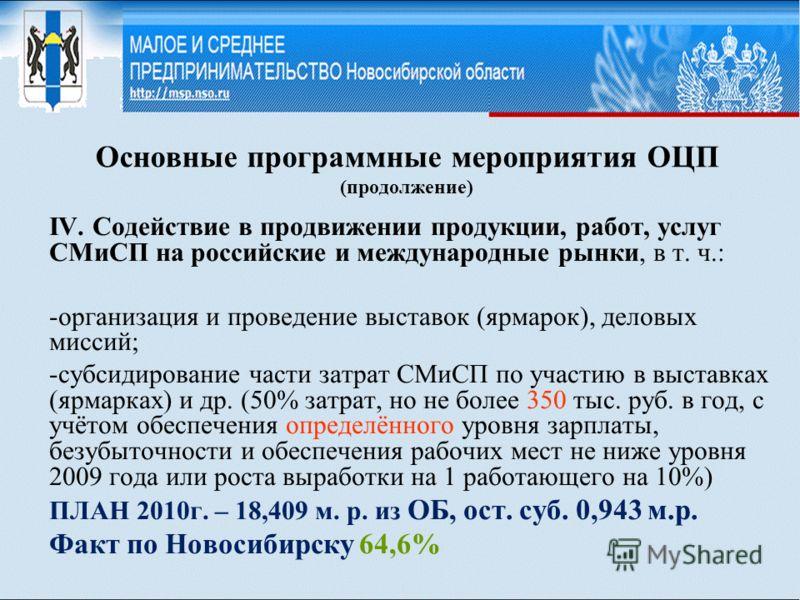 Основные программные мероприятия ОЦП (продолжение) IV. Содействие в продвижении продукции, работ, услуг СМиСП на российские и международные рынки, в т. ч.: -организация и проведение выставок (ярмарок), деловых миссий; -субсидирование части затрат СМи