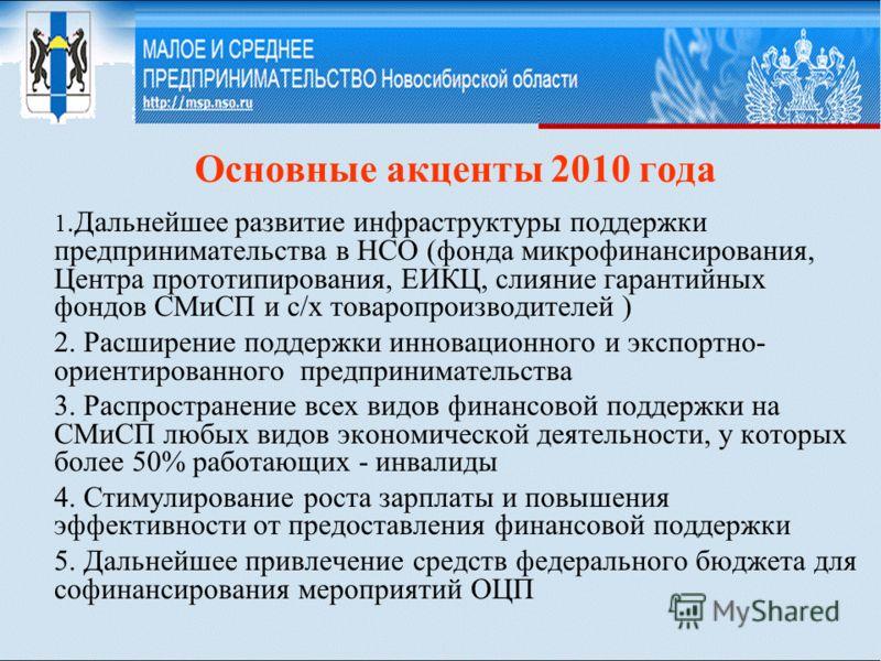 Основные акценты 2010 года 1.Дальнейшее развитие инфраструктуры поддержки предпринимательства в НСО (фонда микрофинансирования, Центра прототипирования, ЕИКЦ, слияние гарантийных фондов СМиСП и с/х товаропроизводителей ) 2. Расширение поддержки иннов