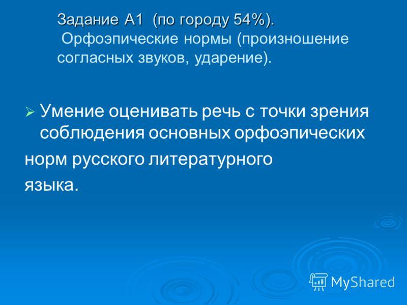 Задание А1 (по городу 54%). Задание А1 (по городу 54%). Орфоэпические нормы (произношение согласных звуков, ударение). Умение оценивать речь с точки зрения соблюдения основных орфоэпических норм русского литературного языка.