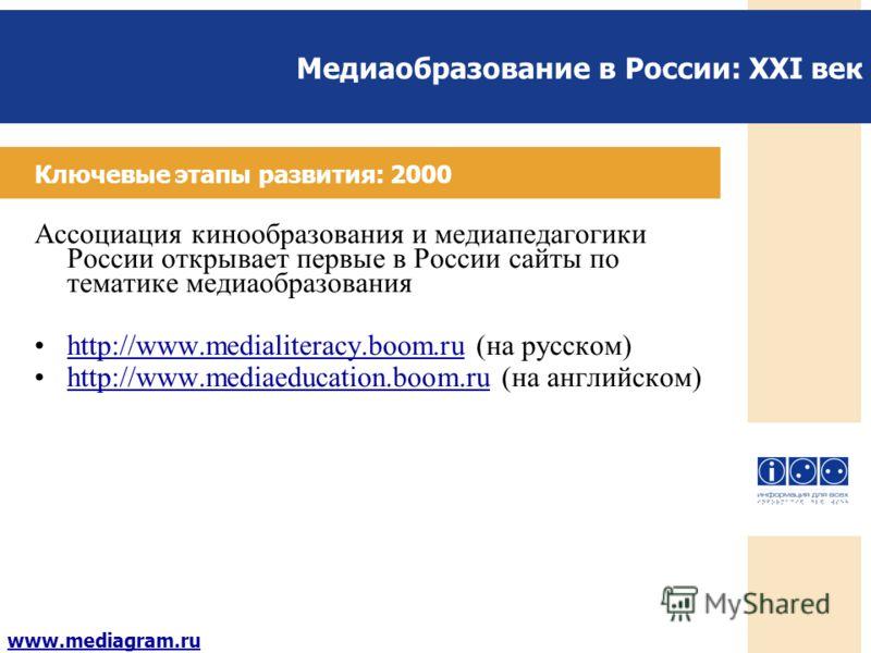 Медиаобразование в России: XXI век www.mediagram.ru Ключевые этапы развития: 2000 Ассоциация кинообразования и медиапедагогики России открывает первые в России сайты по тематике медиаобразования http://www.medialiteracy.boom.ru (на русском) http://ww